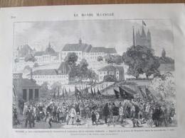 Gravure  1872 SUISSE    Les Manifestations De LAUSANNE    Place RIponne - VD Vaud