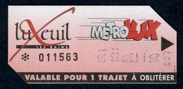 Ticket - Billet Ou Titre De Transport Bus - LUXEUIL - MétroLux - Valable 1 Trajet - Bus