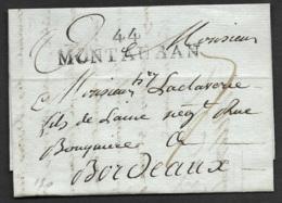 Lot-Lettre Avec Marque Liéaire 44 MONTAUBAN (58*12)-Pour Bordeaux - Poststempel (Briefe)