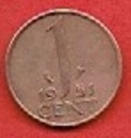 NETHERLANDS #  1 CENT FROM 1951 - [ 3] 1815-… : Kingdom Of The Netherlands