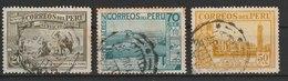 MiNr. 347, 350, 351 Peru  1936, 20. Dez./1937, 1. Febr. Flugpostmarken: Landesmotive. - Peru