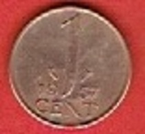 NETHERLANDS #  1 CENT FROM 1957 - [ 3] 1815-… : Kingdom Of The Netherlands