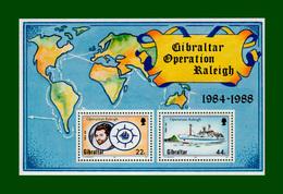 """.1988 Gibraltar Block 11 Mi.-Nr. 559 + 557 ** POSTFRISCH  """"Emblem+Expeditionsschiff """"Sir Walter Raleigh"""" (B37pf) - Gibraltar"""
