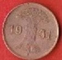 GERMANY  #  1 REICHPFENNIG FROM 1931 - [ 3] 1918-1933 : República De Weimar