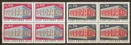 Cept 1969 Andorra Français Andorre Yvertnr. 194-95 *** MNH Cote 160 Euro Bloc De 4 Séries - Andorre Français