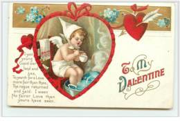 N°4283 - Carte Gaufrée - Clapsaddle - To My Valentine - Angelot Faisant Un Bain De Pieds - - Saint-Valentin