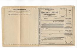 FORMULE De MANDAT-LETTRE Des PTT MODELE N°1406 - 1877-1920: Période Semi Moderne