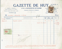M-Document Gazette De Huy - Obli Huy 1D Hoei Le 11-II-1933 Vers Héron Sur 341 - Fiscaux - Printing & Stationeries