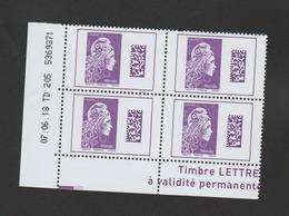 FRANCE / 2018 / Y&T N° 5258 ** : Marianne L'engagée (gommée De Feuille) TVP Monde X 4 - Coin Daté 2018 06 07  TD 205 - 2010-....