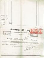 M-Facture Journal De Huy - Obli Huy 1D Hoei Le 9-I-1913 Vers Héron Sur 311x3 - Imprenta & Papelería