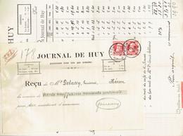 M-Facture Journal De Huy - Obli Huy 1D Hoei Le 7-IV-1911 Par Burdinne Vers Héron Sur 74x2 - Printing & Stationeries