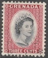 Grenada. 1953-59 QEII. 3c Used. Script CA W/M SG 195 - Grenada (...-1974)