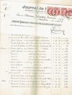 M-Facture Journal De Huy - Obli Huy (Nord) Le 6-Juillet-1909 Par Burdinne Vers Héron Sur Bande De 4 Du74 - Imprenta & Papelería
