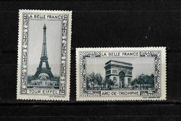 Francia 2 Viñetas Turisticas De La Bella Francia Paris Torre Eiffel Y Arco Del Triunfo - Commemorative Labels