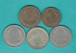 Hungary - Franz Josef - 1 (1894), 2 (1901) & 10 Fillér - (1894; 1909 & 1915) (KMs 482 & 494) - Hungary