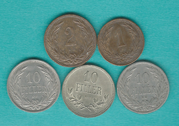 Hungary - Franz Josef - 1 (1894), 2 (1901) & 10 Fillér - (1894; 1909 & 1915) (KMs 482 & 494) - Hungría