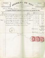 M-Facture Journal De Huy - Obli Huy (Nord) Le 5-Octo-1900 Par Burdinne Vers Héron Sur 58x3 - Imprenta & Papelería