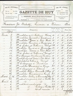 M-Facture Gazette De Huy - 7-Février 1909 - Héron Huissier Joseph Debatty - Imprenta & Papelería
