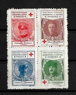 Francia Bloque De 4 Viñetas De La Asociacion Damas Francesas De La Cruz Roja Efigies Militares  Italianos Y Franceses - Commemorative Labels