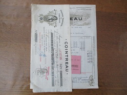 ANGERS COINTREAU GRANDE FABRIQUE DE LIQUEURS FACTURE ET TRAITE DU 29 AOUT 1935 - Rechnungen