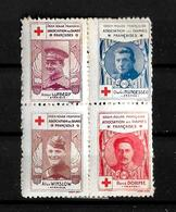 Francia Bloque De 4 Viñetas De La Asociacion De Damas Francesas De Cruz Roja Con Militares - Commemorative Labels