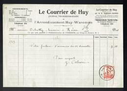 M-Facture Le Courrier De Huy - Obli Huy 2A Hoei Le 11-VII-1913 Par Burdinne Vers Héron Sur 118 - Imprenta & Papelería