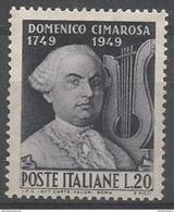 Italy  - 1949 Cimarosa Anniversary 20L MNH **   Sc 530 - 1946-60: Mint/hinged