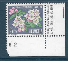 Timbres Neufs** De Suisse, N°700 Yt, Pro Juventute 1962, Fleurs De Pommier - Suisse