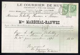 M-Facture Le Courrier De Huy - Obli Huy (Nord) Le 22-Mars-1899 Par Burdinne Vers Héron Sur 56x2 Avec Bandelettes - Imprenta & Papelería