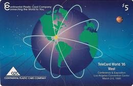 USA: Continental Plastic Card - TeleCard World '95 Exposition Los Angeles. JUMBO CARD - Vereinigte Staaten