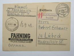 1945 , Notganzsache  Rheinhausen - Hochemmerich , Seltene Bedarfskarte Mit Rs. Viel Text - Zone Anglo-Américaine