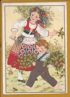 Rare Christmas Stationery Postcard. Holly. Costume Of Minho, Portugal. Happy Year. Kerstmis. Minho-kostuum. Kerst Hulst - Plants