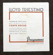 Pubblicità Viaggi - Brochure Lloyd Triestino - Piroscafo Conte Rosso - 1937 - Publicités