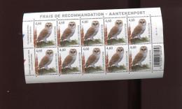 Belgie Buzin Birds 3983 Owl Hibou Volledig Vel Plaatnummer 2 Blauw/rood Driehoekje Links Numero De Planche  MNH - 1985-.. Oiseaux (Buzin)
