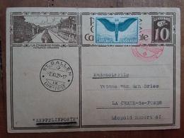 SVIZZERA - Posta Aerea - Cartolina Postale Con Affrancatura Da C.65 - Annullo Zeppelin - (piegata) + Spese Postali - Posta Aerea