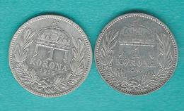 Hungary - Franz Josef - 1 Corona - 1895 (KM484); 1915 (KM492) - Hongrie
