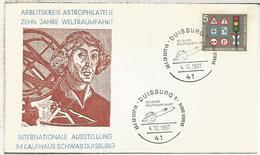 ALEMANIA DUISBURG 1967 SPUTNIK 10 AÑOS SATELITE ESPACIO SPACE - Cartas