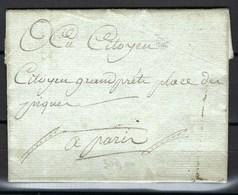 Paris 1793, Prison Révolutionnaire, Maison D'arrêt Des Magdelonettes, Superbe - Marcophilie (Lettres)