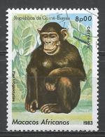 Guinea-Bissau 1983. Scott #461 (U) African Apes And Monkey, Pan Trogladytes, Singe * - Guinée-Bissau