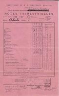 1894 95 -  BULLETIN SCOLAIRE NOTE TRIMESTRIELLES - ECOLE PRIMAIRE SUPERIEURE AGRICOLE DE CADILLAC  INSTITUT MESTRAUD - Diplômes & Bulletins Scolaires