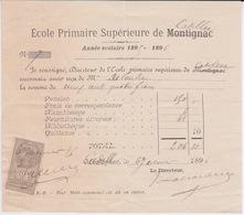 1896  - RECU DE PENSION DE  L'ECOLE PRIMAIRE SUPERIEURE AGRICOLE DE CADILLAC ANCIENNEMENT MONTIGNAC - Diplômes & Bulletins Scolaires