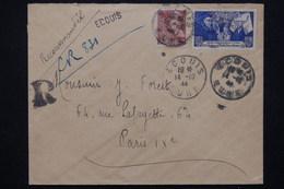 FRANCE - Enveloppe En Recommandé Provisoire De Ecouis Pour Paris En 1944 - L 21501 - Postmark Collection (Covers)