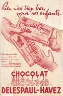 Buvard Ancien CHOCOLAT CORONA DELESPAUL HAVEZ - LILLE - Cocoa & Chocolat