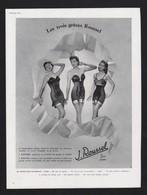 Pub Papier 1951 Sous Vetement ROUSSEL Lingerie Bas Soutien Gorge Gaine Jarretelle Femme Pin Up - Advertising