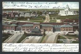 +++ CPA - Amérique - Etats Unis - Rhode Island - PROVIDENCE - Station & Capitol - Paillettes    // - Providence