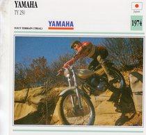Yamaha TY 250 -  Tout Terrain (Trials)  - 1974 -  Fiche Technique/Carte De Collection - Motociclismo