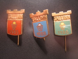 1980s ESTONIA RUSSIA BASKETBALL PINS BADGES - Basketball