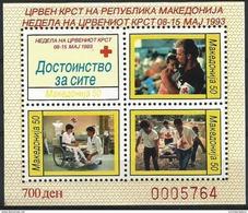 Macedonia  - 1993 Red Cross Week Perf S/sheet  MNH **   Sc RA35c - Macedonia