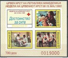 Macedonia  - 1993 Red Cross Week Imperf S/sheet  MNH **   Sc RA35d - Macédoine