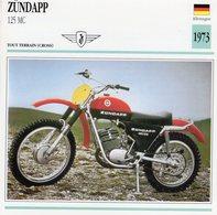 Zundapp 125 MC -  Tout Terrain (Motocross)  - 1973 -  Fiche Technique/Carte De Collection - Motociclismo